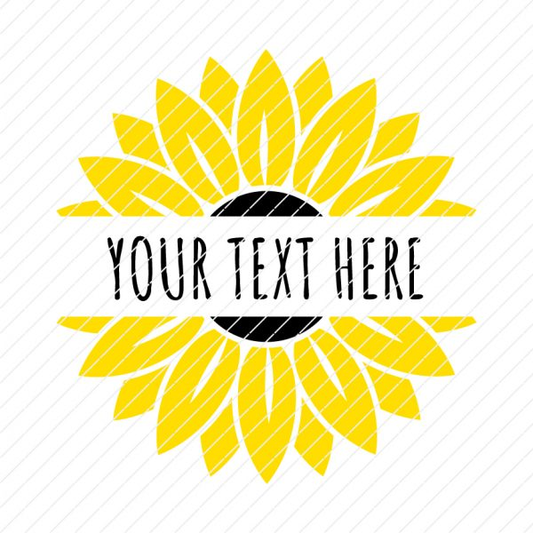 Sunflower Split Monogram Custom Your Name SVG