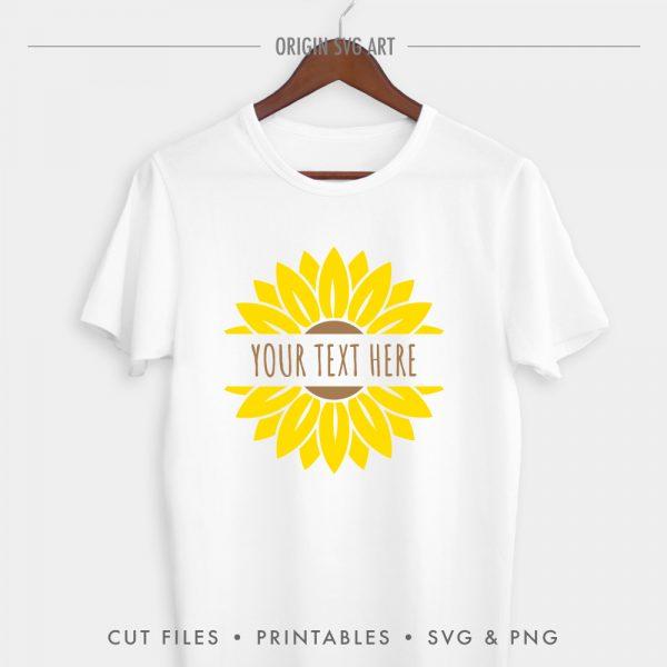 Sunflower Split Monogram Custom Your Name SVG