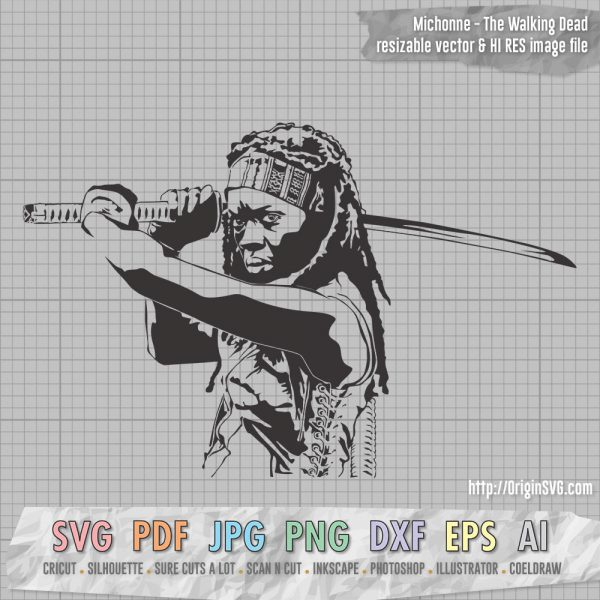 Michonne with samurai the walking dead SVG cut files