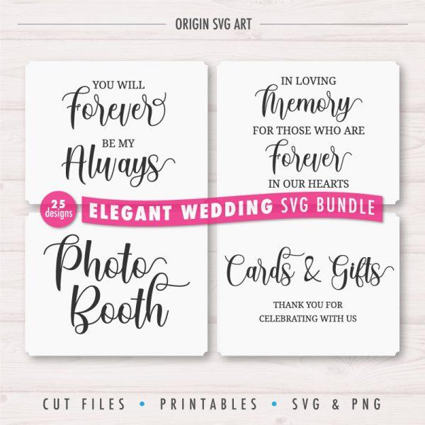 25 Designs WEDDING Signs Bundle, Elegant Wedding Cards SVG