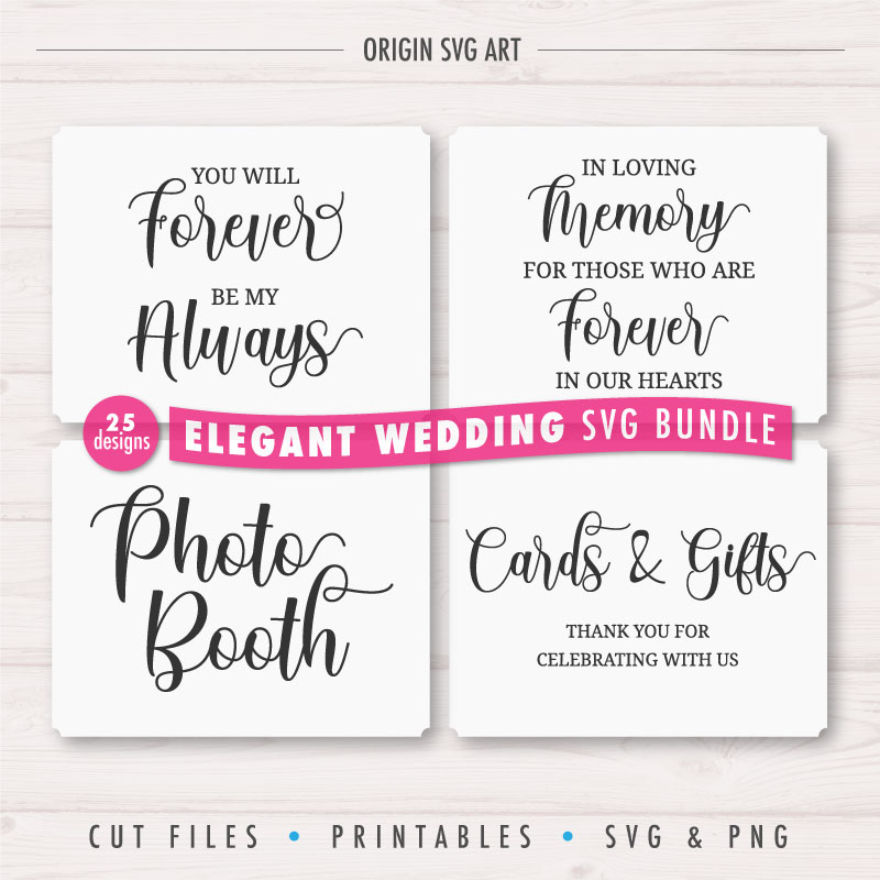 25 Designs WEDDING Signs Bundle, Elegant Wedding Cards SVG