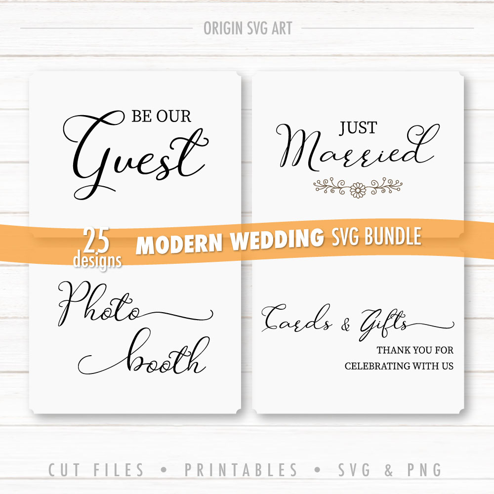 25 Designs WEDDING Signs Bundle, Modern Wedding Cards SVG