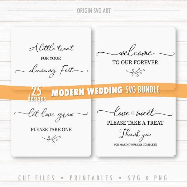 25 Designs WEDDING Signs Bundle, Modern Wedding Cards SVG