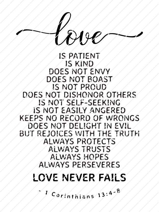 Download Love is Patient, Love Never Fails, 1 Corinthians 13:4-8 ...