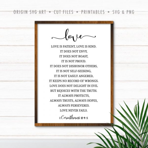 Love Is Patient, Love Is Kind, 1 Corinthians 13:4-8 SVG