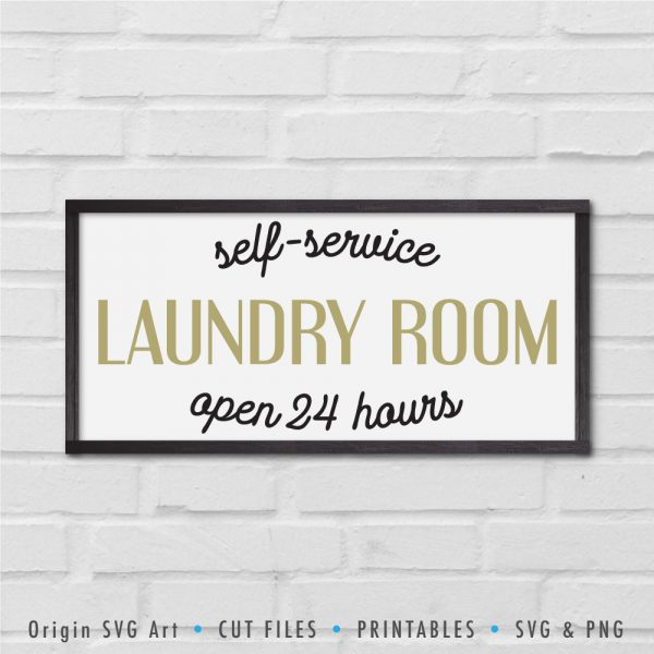 Self-Service Laundry Room: Open 24 Hours SVG
