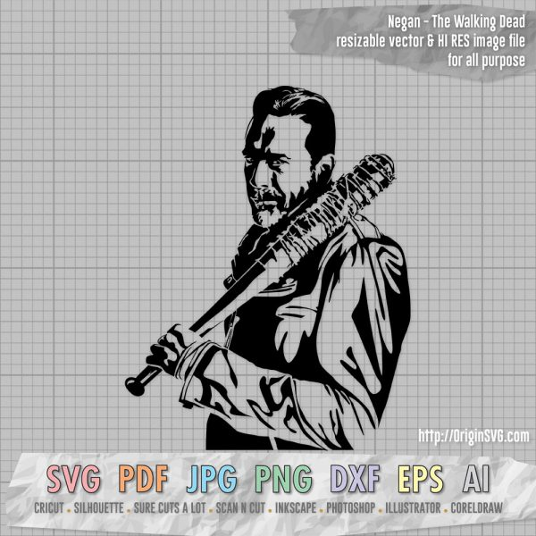 Negan with bat The Walking Dead jeffrey Dean Morgan SVG cut files