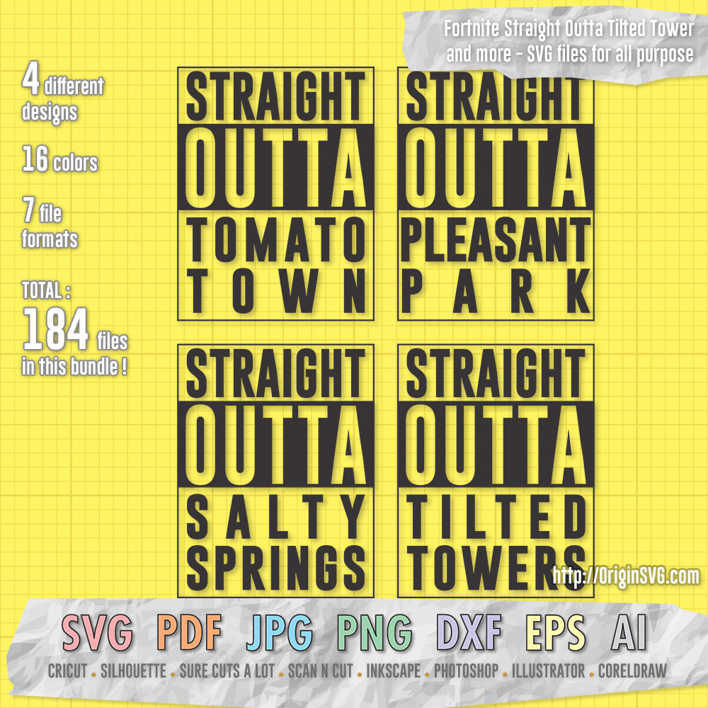 Fortnite Straight Outta sticker cut files SVG