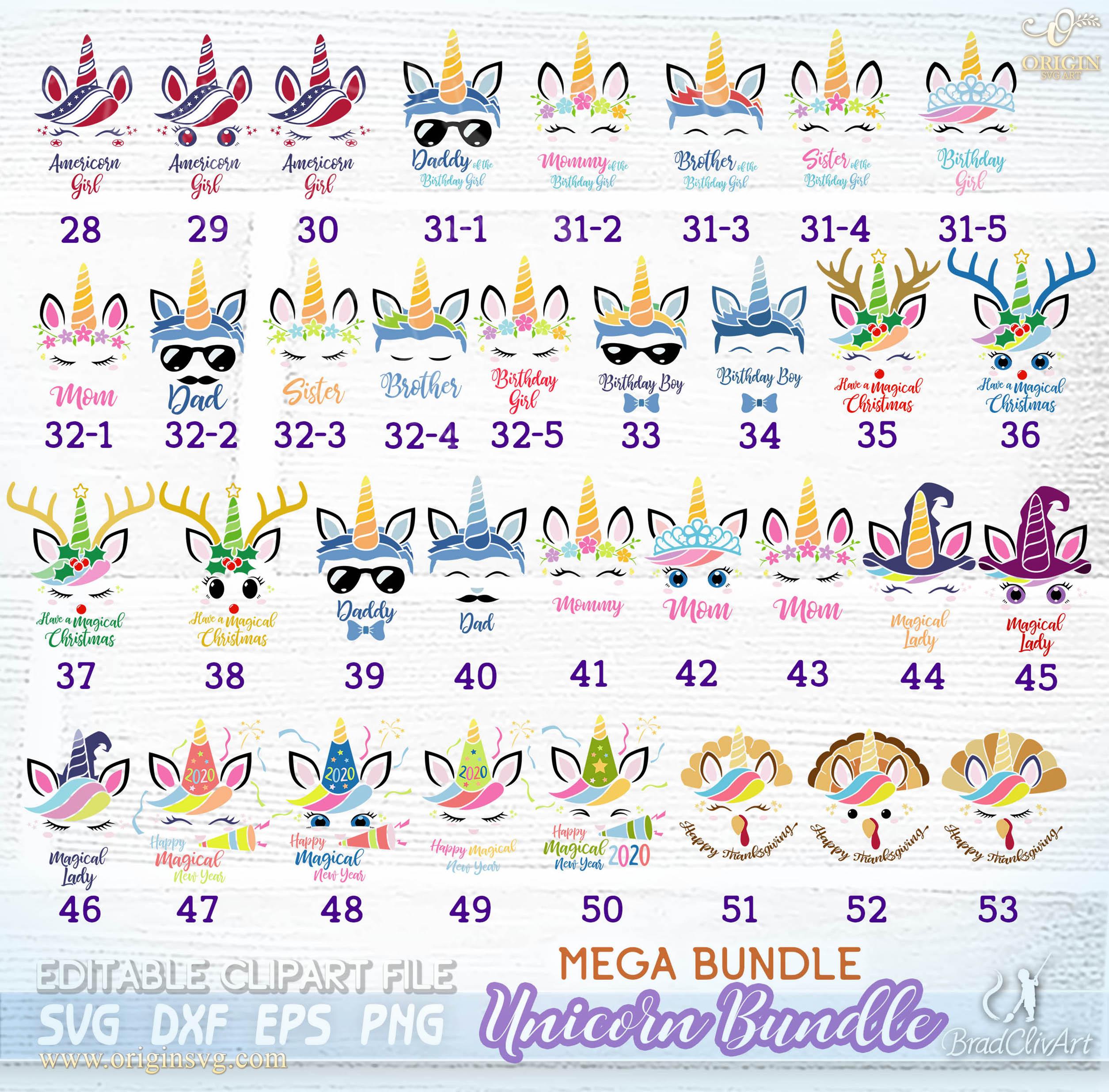 Unicorn Bundle Svg All Unicorns In Shop Cut File For Cricut And Silhouette