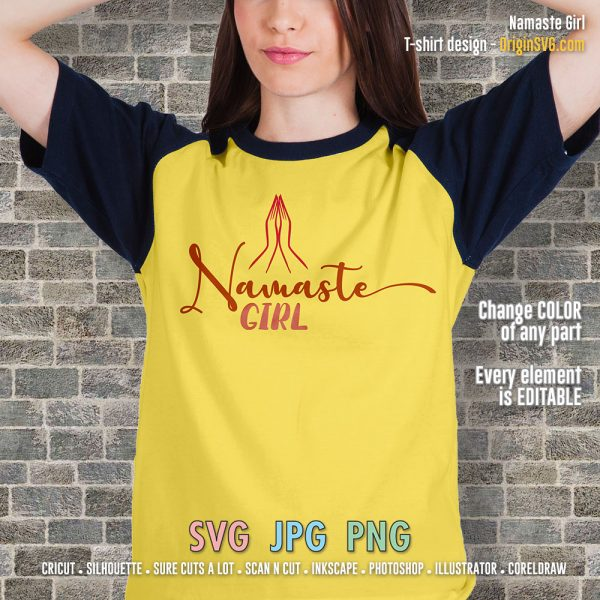 namaste girl t-shirt design cut files