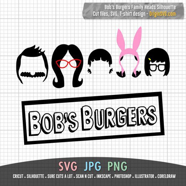 Bob's Burgers Family Heads Silhouette