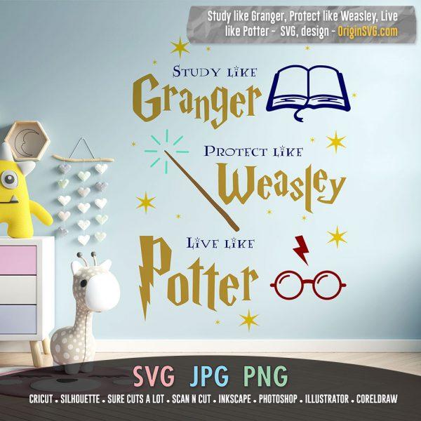Study like Granger, protect like Weasley, live like Potter