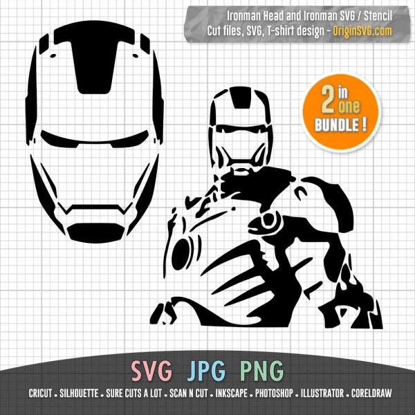 ironman stencil and ironman head SVG