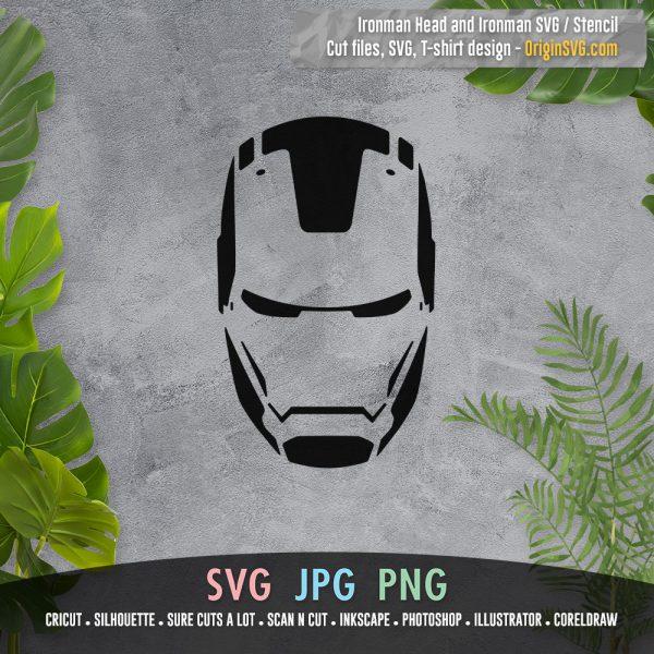 ironman stencil and ironman head SVG