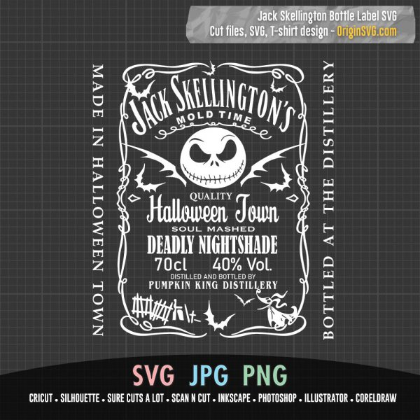 Jack Skellington Bottle Label Jack Daniel's SVG