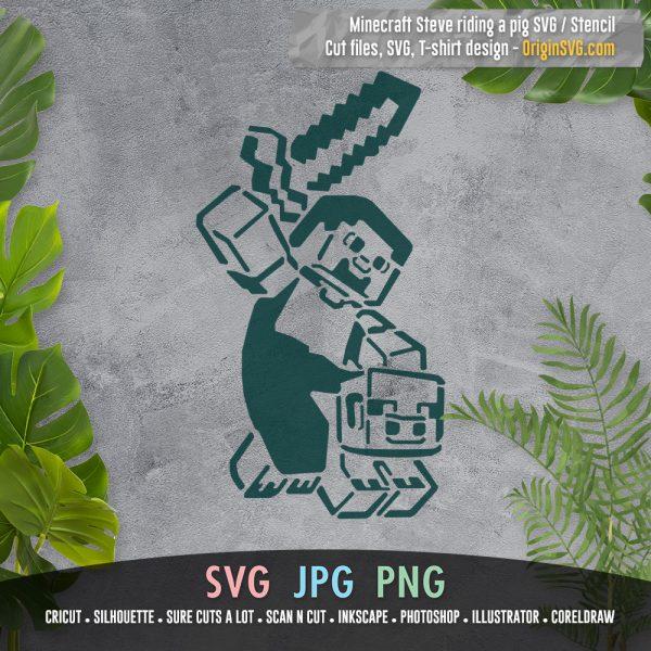 Minecraft Steve Riding Pig