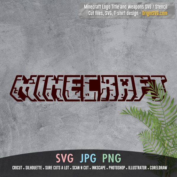 minecraft title and tools pickaxe sword hoe stencils SVG