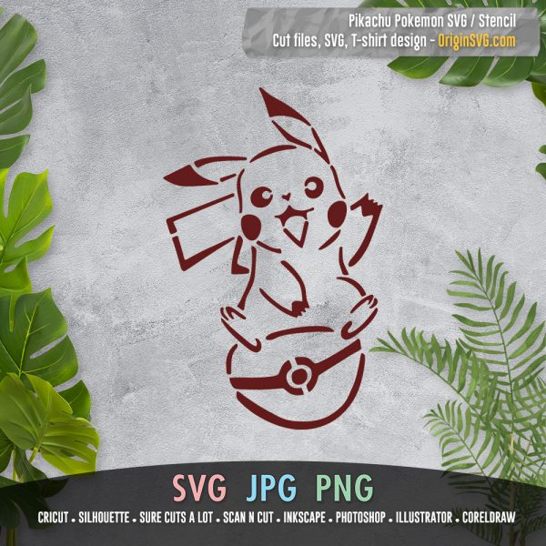 pikachu stencil SVG