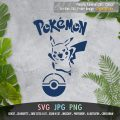 Pikachu with Pokeball and Pokemon Title Logo
