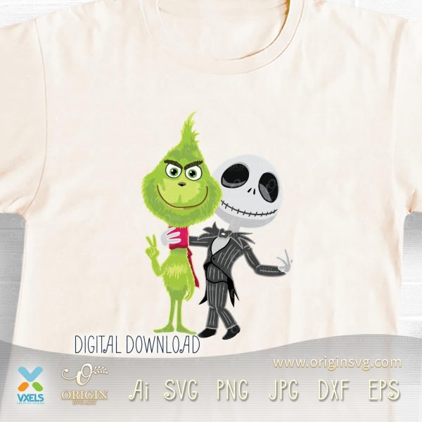 cute grinch and jack skellington