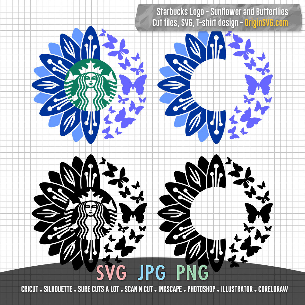 Starbucks Sunflower And Butterflies For Starbucks Cup Svg Cut Files Origin Svg Art
