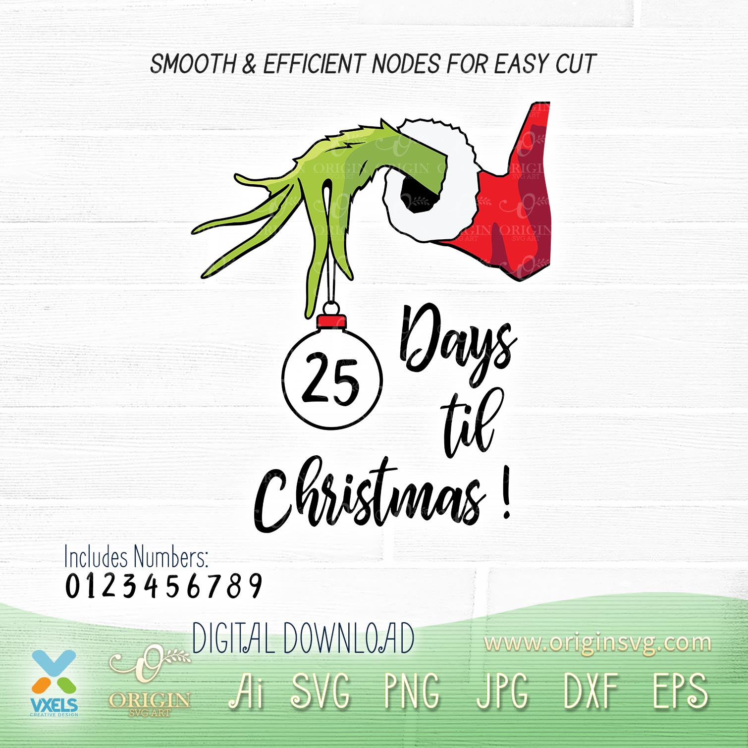 Days Til Christmas Countdown Grinch Hand Holding Ornament Svg The image is png format and has been processed into transparent background by ps tool. days til christmas countdown grinch