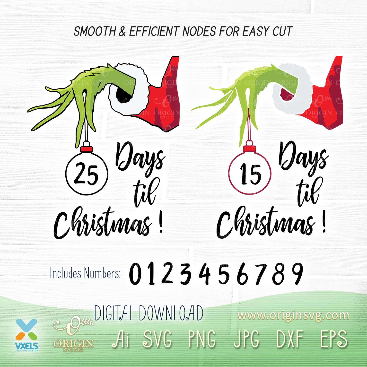 Days Til Christmas Countdown Grinch Hand Holding Ornament Svg Grinch max and cindy lou. days til christmas countdown grinch