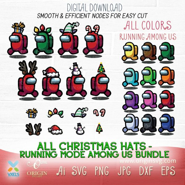 among us christmas bundle svg