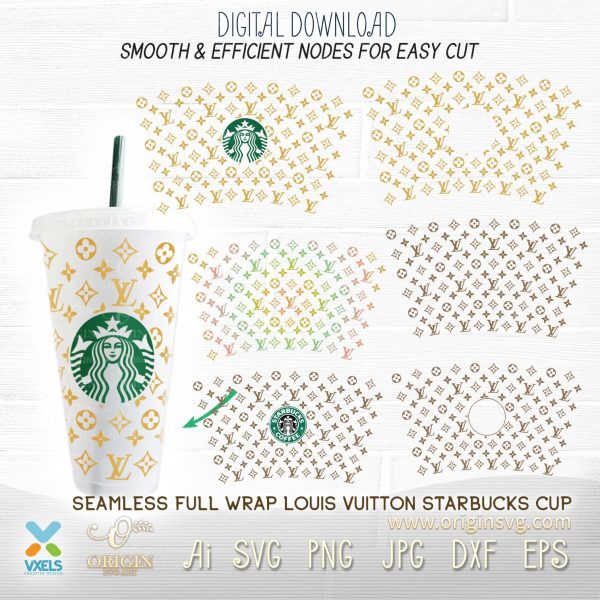 lv starbucks cup svg