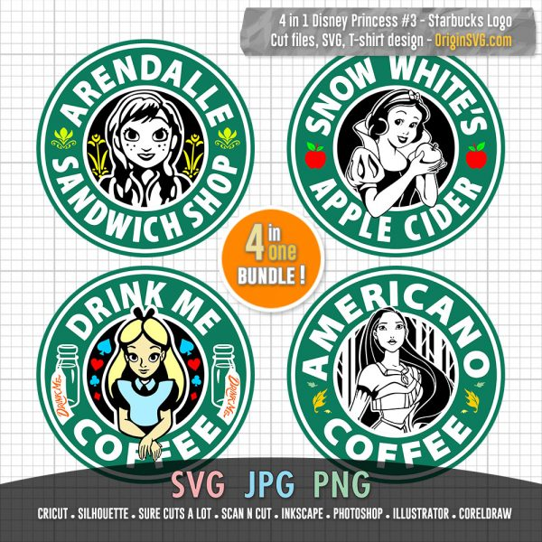 Starbucks Logo Disney Pricess set 3