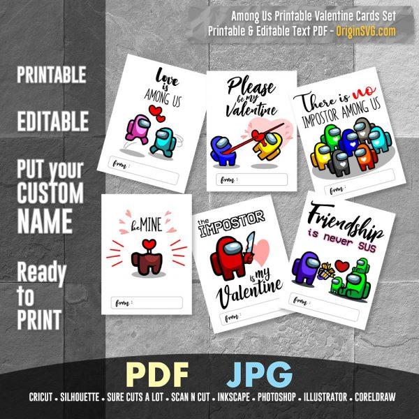 Printable Among Us Valentine cards