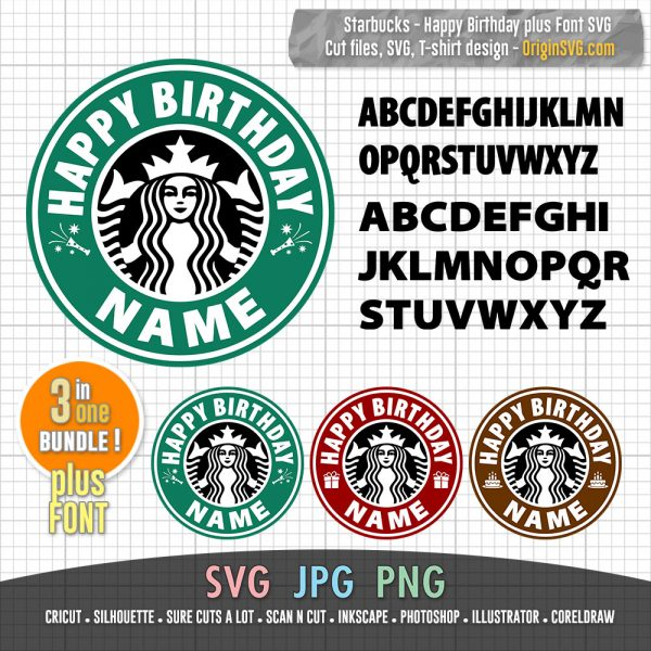 Happy Birthday Custom Name Starbucks Logo with Font