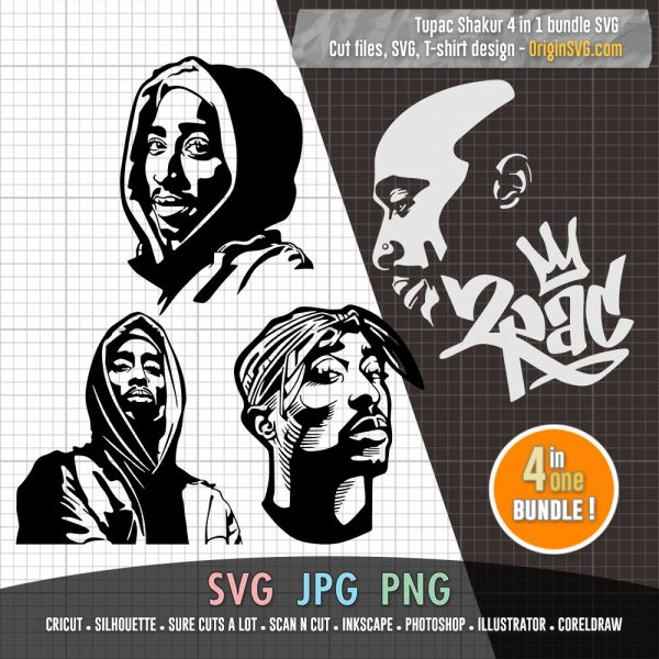 Tupac Shakur 2PAC portrait SVG bundle