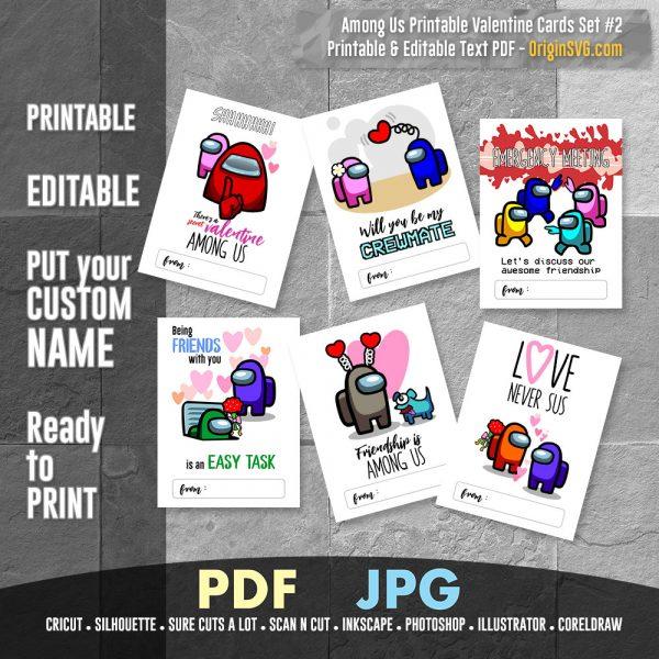 Among us valentine card printable set 2