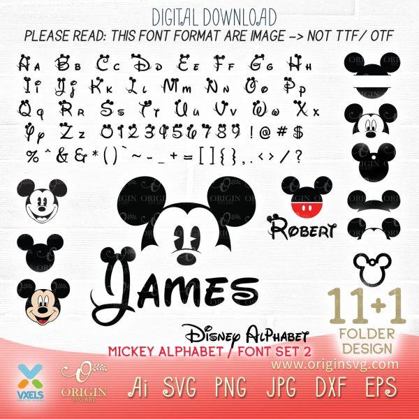 alphabet mickey svg