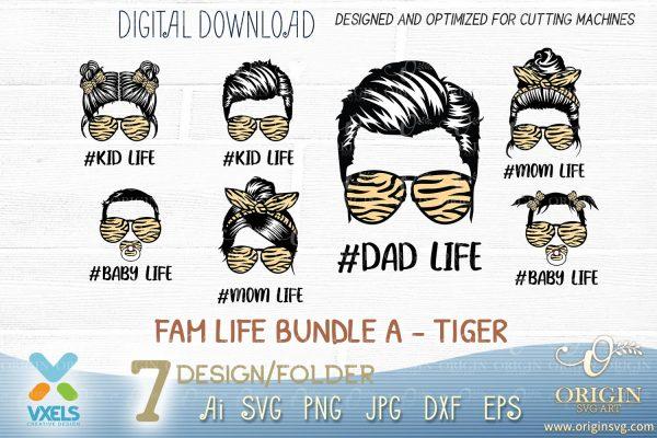 tiger family svg