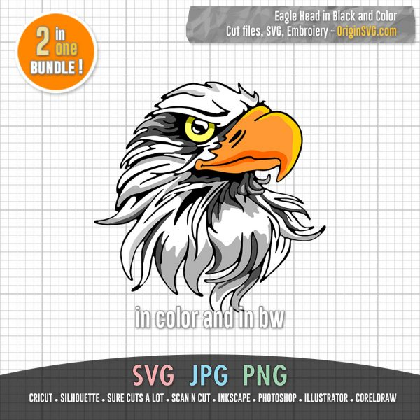 eagle head SVG black and colorr