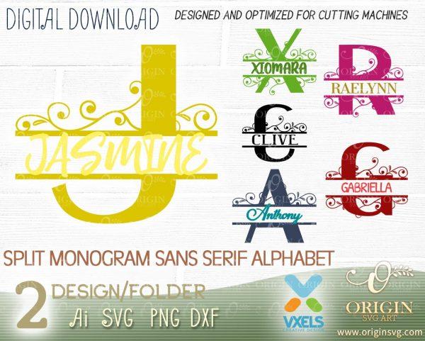 alphabet split monogram