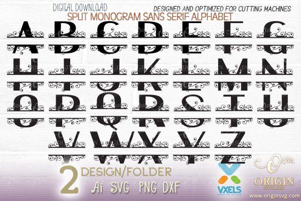 split monogram cutfile